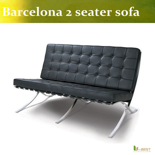 U-BEST Barcelona 2 seater sofa,modern top grain genuine leather Barcelona sofa loveseat