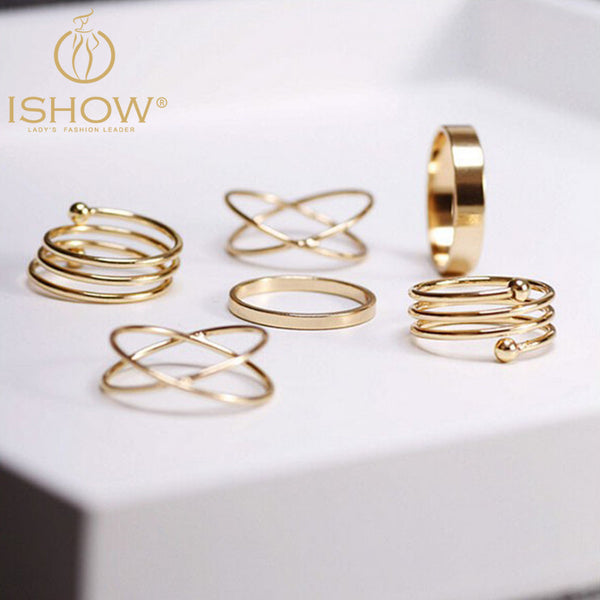 New Fashion 6 pcs a lot Gold Knuckle Midi Punk Stackable Rings for Women Bague Finger Ring Set Bijoux Jewelry Senhor Dos Aneis Free Shipping
