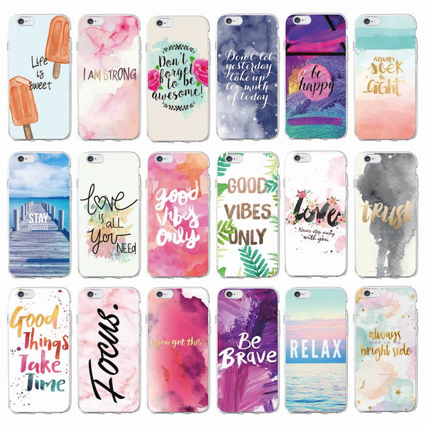 Positive Good Vibe Only Love Happy Trust Quote Soft Phone Case Fundas Coque Cover For iPhone 7Plus 7 6Plus 6 6S 5 5S 8 8Plus X