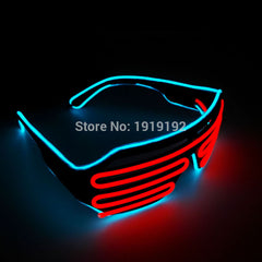 EL wire flashing shutter shade lighting el led plastic party rave glasses for Event and Party Supplies Christmas and Halloween