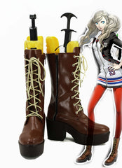 P5A the Day Breakers Persona 5 Anne Takamaki Cosplay Shoes Halloween Brown High Boots Custom-made European Size