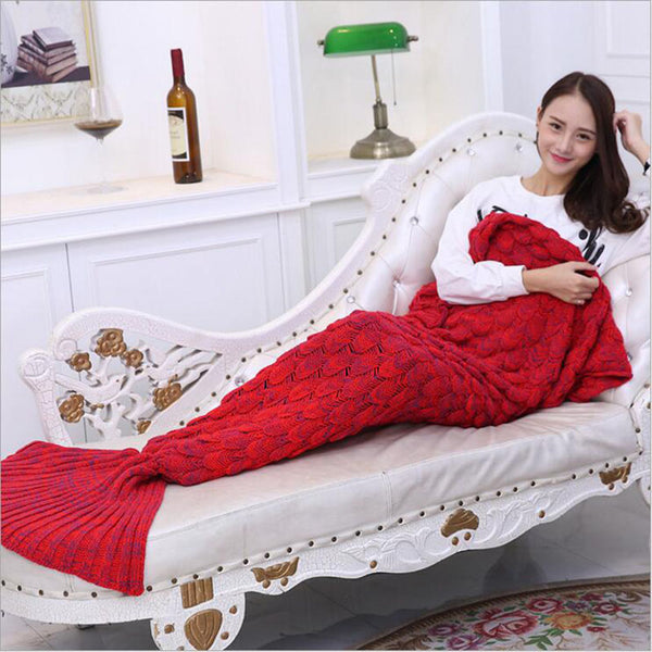 High quality! Yarn Knitted Mermaid Tail Blanket Super Soft Sleeping Bed Handmade Crochet Anti-Pilling Portable Blanket For Autum
