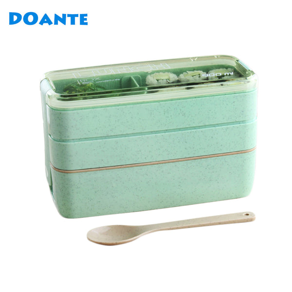 DOANTE Brand 3 Layers Lunch Boxs Food Storage Container for Kids Microwave Bento Box Dinnerware Set Lunchbox