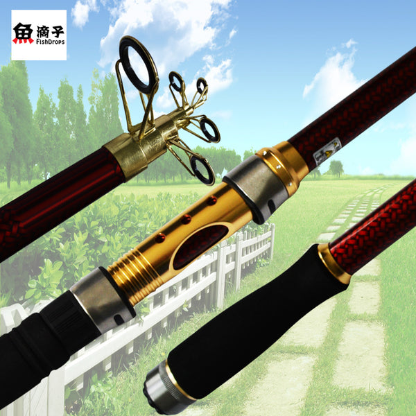 Telescopic Fiber Carbon Spinning Sea Fishing Rod Free US Shipping