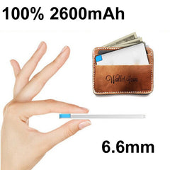 2600mah Powerbank Mini Card Mobile Power Bank External Portable Battery Charger for iPhone 5 5s 6 6+ for iPod iPad Any 5V Device