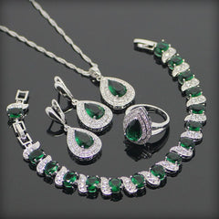 New Fashion Style Drop 925 Sterling Silver Green Garnet White Topaz Bracelets/Earrings/Pendant/Necklace/Rings Jewelry Set for Women