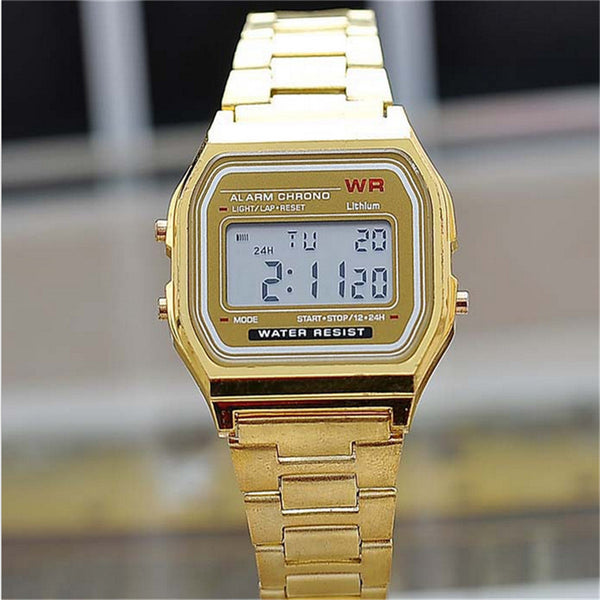 New Hot Sale Gold Silver Silicone Couple Digital Watch Square Military Dress Sports Watches for Men and Women