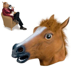 Halloween 2016 Silicone Creepy Brown Horse Head Mask