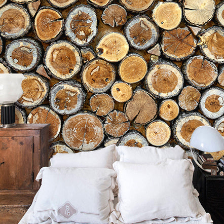 Free Shipping Wood stick retro wallpaper KTV Cafe Restaurant leisure Bar Bedroom Sofa backdrop tree section wallpaper mural
