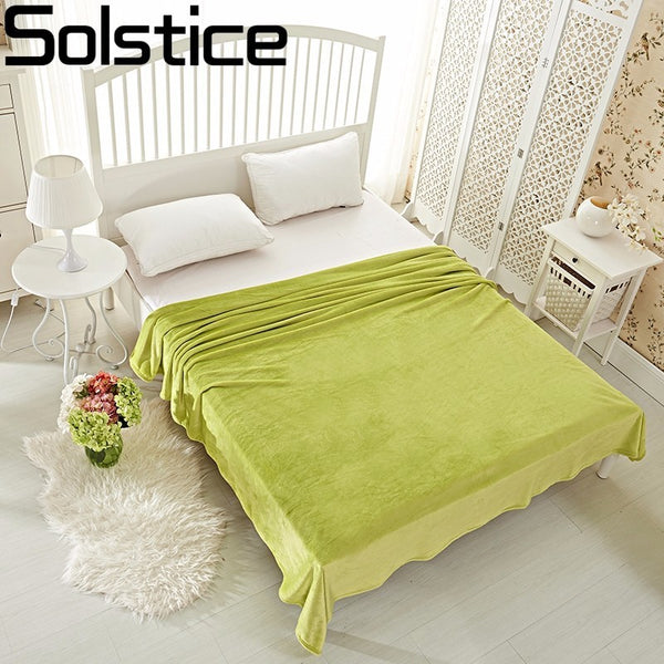 Solstice Home Textile Summer Thin Section Solid Color Super Warm Soft Blankets Throw On Sofa/bed Sheet Travel Portable Blanket
