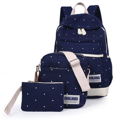 New Korean Casual Canvas Book Preppy Style School Back Bags for Teenage Girls - 3Pcs/Sets