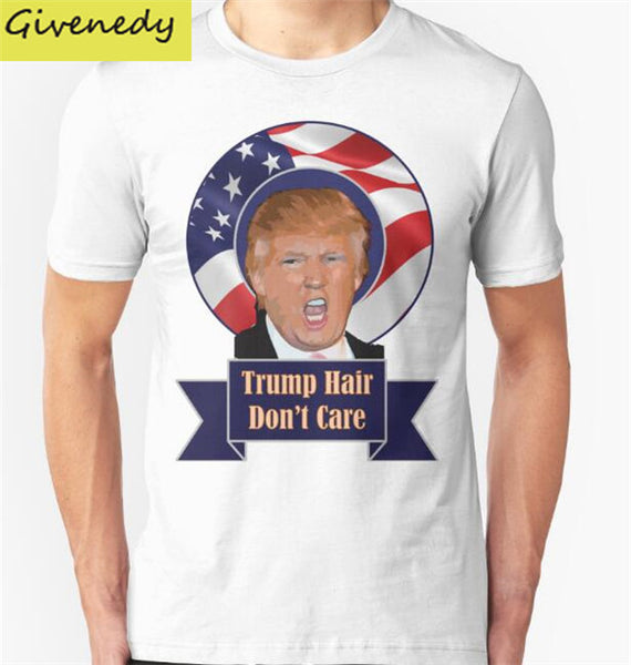2016 Election Hair Funny Donald Trump Print Short Sleeve O-Neck Casual Cotton T-Shirt for Men