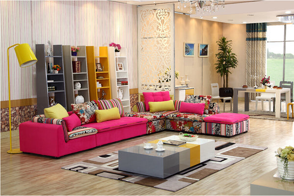 U-BEST high quality sectional sofa pink fabric 6 seat sofa compenhagen,Sectional Sofa Set Sofa Reversible Chaise