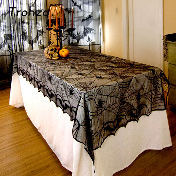 Tronzo 244*122CM Lace Black Spider Web Halloween Decoration For Home Halloween Party Decoration Rectangle Tablecloth Cobweb