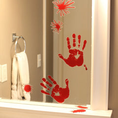 Halloween Decoration Prop Window Mirror Clings Cling Bloody Handprint  Footprint Spot Decoration Festive & Party Supplies