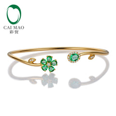 Caimao Jewelry 0.94ctw Natural Emerald Pave Diamond 18K Yellow Gold Gemstone Bracelet