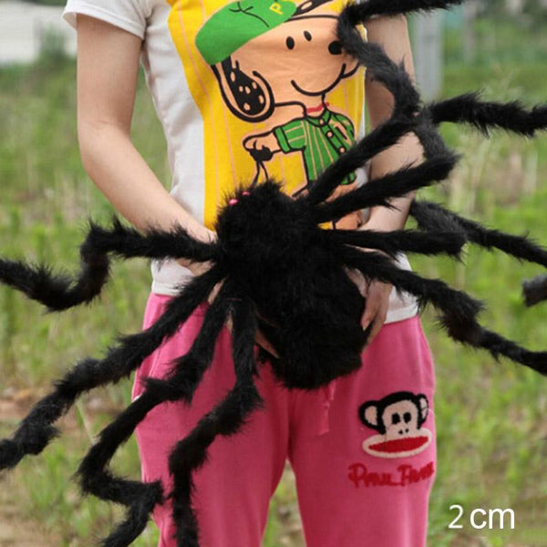 30cm-200cm Super Big Wire Plush Material Spider Realistic Black Horrible Fake Spiders Toy Home Party Halloween Props Decoration