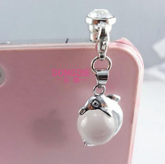 Dolphin pearl phone plug Cute dust plug for cell phone fine phone accessories elegant Cellphone Charms