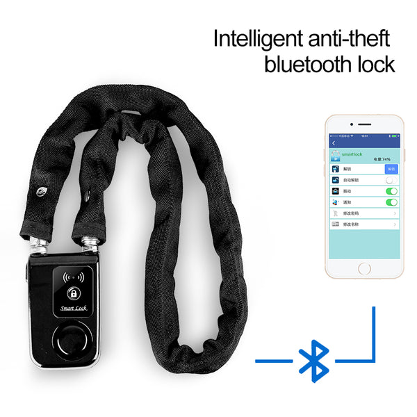 DEROACE Smart Control Super Smartphone Bluetooth Steel Chain Cycle Lock