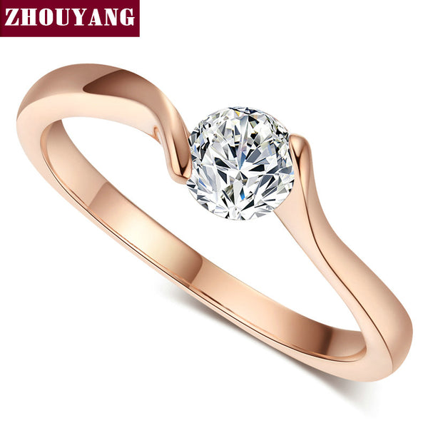 Top Quality Concise Crystal Ring Rose Gold Color Austrian Crystals Full Sizes Wholesale ZYR239 ZYR422