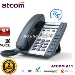 ATCOM A11 POE 1 SIP Line Entry-level business IP Phone Dual core CPU, HD voice, backlight LCD  Desktop office VoIP telephone