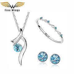 New Arrival Classic Rhinestone Crystal Necklaces & Pendants Earrings Bracelet Ladies Wedding Jewelry Sets