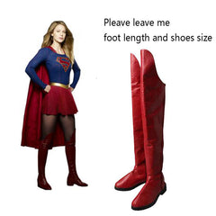 Supergirl Cosplay Boots Kara Zor-El Danvers Boots Red Shoes Superhero Halloween Carnival Cosplay Costume Accessories Props Adult