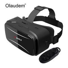 2017 New Virtual Reality 3D VR Headset VR Headset World Movie Game For IOS Android Smartphones +  Bluetooth 3.0 Remote Controller Hot Sale
