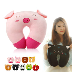 Hot Sale 9 styles U-shaped Plush Pillow Travel Pillow Cartoon Animal Car Headrest Doll