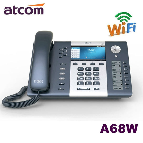 ATCOM A68W 6 SIP WiFi  Entry-level business wireless Operator's SIP Phone, color screen IP Phone , Dual screen Desktop sip phone