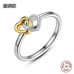 Luxury Retro 925 Sterling Silver & Gold Color Heart to heart Rings For Women Original Compatible with pan Jewelry LOVE Gifts