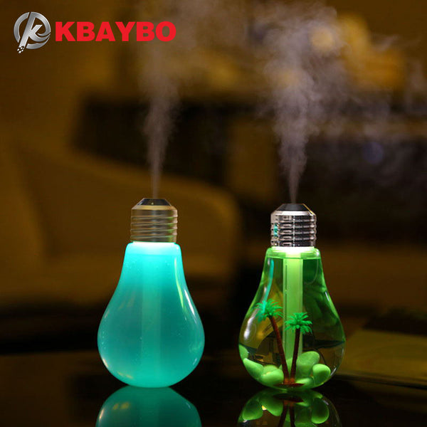 USB Ultrasonic Mini Aroma Diffuser LED Night Light Aromatherapy Mist Maker Creative Bottle Bulb Humidifier for Home Office