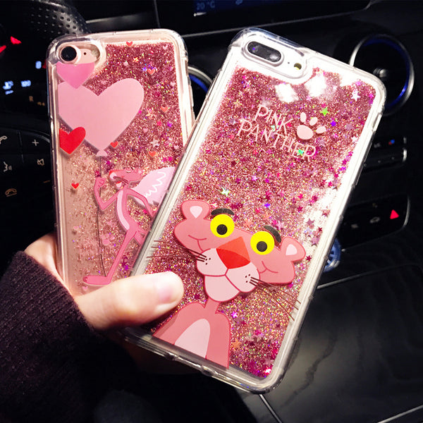 Cute Cartoon Pink Panther Animals Glitter Dynamic Liquid Quicksand Phone Case For IPhone 6 6s Plus Cases For Iphone 7 8 Plus