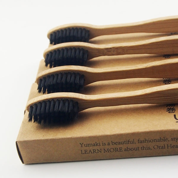 100 Pieces Black 100% Bamboo Toothbrush Wood toothbrush Novelty Bamboo soft-bristle Capitellum Bamboo Fibre Wooden Handle