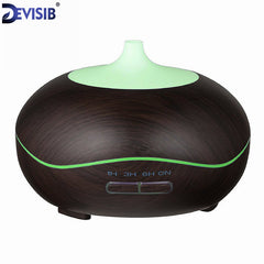 DEVISIB 300ml Diffuser Wood Grain With Chroming Ultrasonic Aroma Cool Mist Air Humidifier for Office Bedroom Baby
