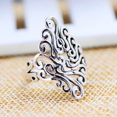Women Rings Stainless Steel Hollow Out Rings Knuckle Flower Style Silver Color Fashion Cocktail Party Jewelry Best Gift
