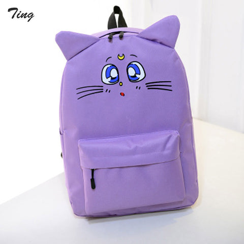 Japanese Harajuku Canvas anime Sailor Moon Luna Backpacks Cute Cat back to school bags for teenage girls mochila Women book bags