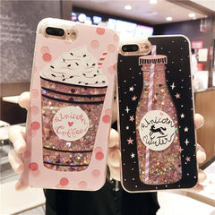 LOVECOM For iPhone 5 5S SE 6 6S 7 8 Plus X Case Cute Drink Bottle Ice Cream Glitter Star Dynamic Liquid Quicksand Phone Cases