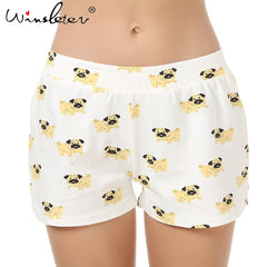Cute Sleep Bottoms Shorts Women Pug Print Elastic Waist Cotton Blend Knitted Stretchy Loose Shorts Pajamas pyjamas S-XXL B6801