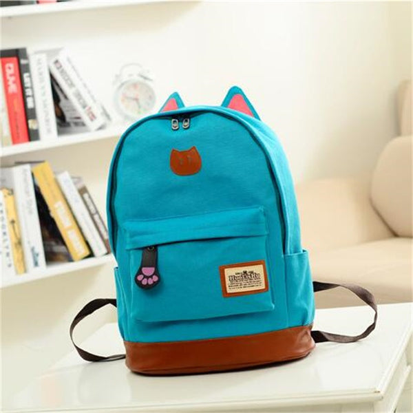 New Arrival Vintage Canvas Backpack for Teenage Girls School Cartoon Cat Backpack Travel Bags