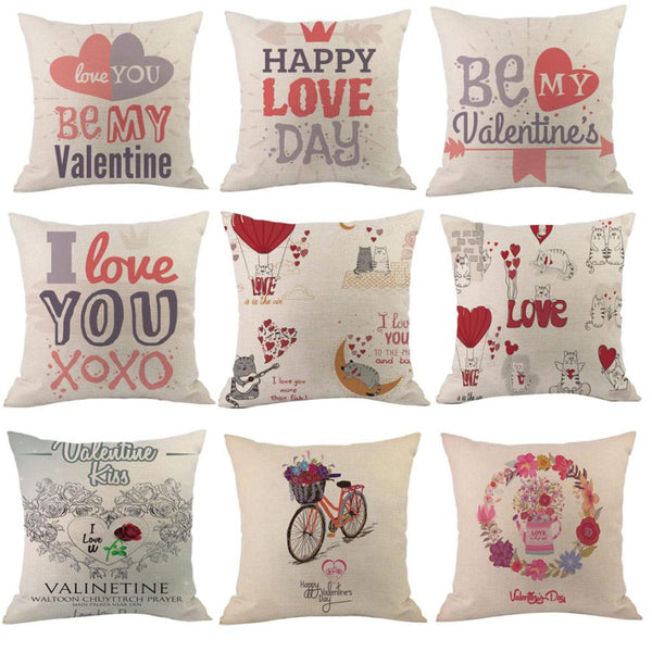 2018 Happy Valentines Day Pillow Cases 45X45 Cotton Decorative Cushion Cover Love Throw Pillow Case valentines day decor 2O0103