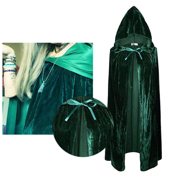 Women/Mens Cloak Velvet Hooded Cape Cosplay Costume Xmas Fancy Dress Hooides Cape Pocho for Hallowmas Halloween Jackets 7F0082