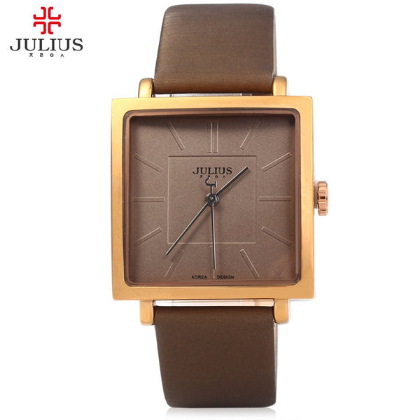 New Arrival JULIUS Quartz Brand Women Luxury Rose Gold Antique Square Casual Leather Dress Watches