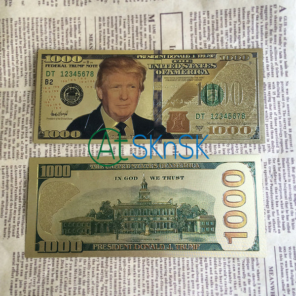 US Presidential Candidate Donald Trump 1000 Dollars Banknote Colorful Artwork Collections Creative Gift - 10pcs/lot Gold