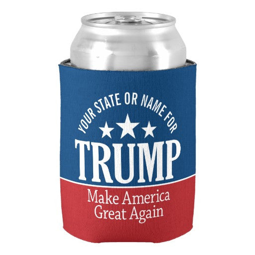 Donald Trump Customize with Your Name or State Personalized Beverage Can Cooler Holder Drink Insulator