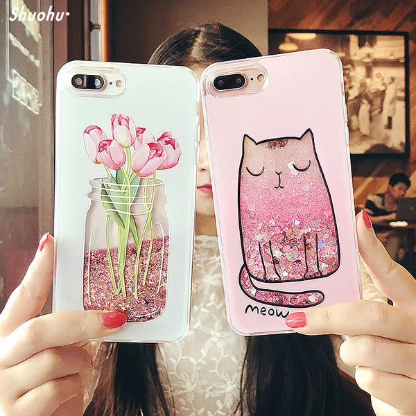 Cartoon Cat Flower Perfume Bottle Quicksand Dynamic Liquid Glitter Phone Case for IPhone 7 6 6s Plus Cases for Iphone X 8 Case