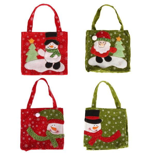 Cute Christmas Elf Pattern Candy Bag Handbag Home Party Decoration Gift Bag Christmas Supplies