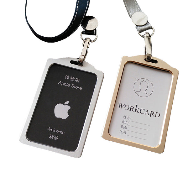 Redo va High Quality Aluminum Alloy Lanyard Card holder Metallic Badge Holder Bus ID Card Holders Customized Office suppies