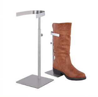 Matte surface kneeboot holder stainless steel shoes desktop display rack high boots showing stand boutique store display fixture