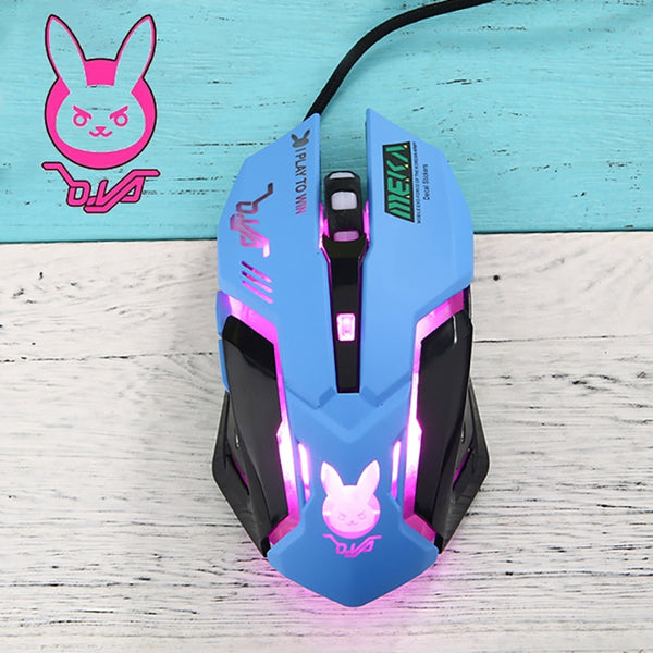 OW 6 Buttons Gaming Breathing LED Backlit Gaming Mice D.VA  Reaper Wired USB Computer Mouse for PC& Mac Overwatch Gamers
